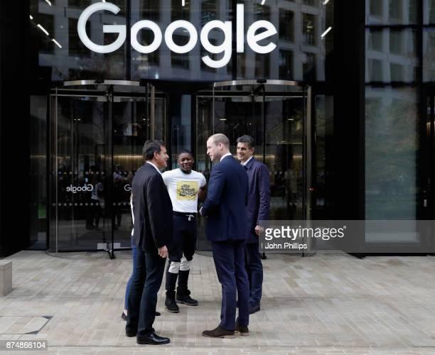 Matt Brittin President EMEA Business and Operations at Google Brent Hoberman Chair of Taskforce and James Okulaja of Young People's Panel greet...
