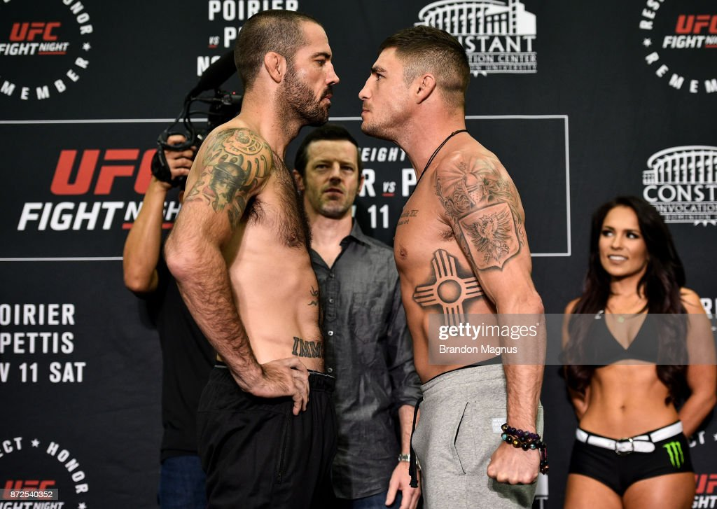 Matt Brown and Diego Sanchez face off during the UFC Fight Night Weigh-in on November 10, 2017 in Norfolk, Virginia.