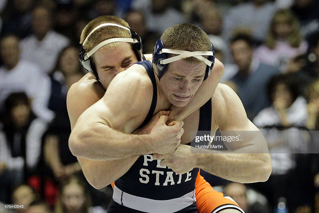 Matt Brown of the Penn State Nittany Lions during a 174 pound match against Chris Perry of the Oklahoma State Cowboys on February 16, 2014 at Rec Hall on the campus of Penn State University in State College, Pennsylvania. Penn State won 23-12.