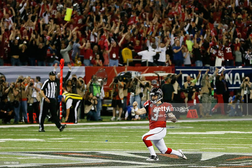 <a gi-track='captionPersonalityLinkClicked' href=/galleries/search?phrase=Matt+Bryant&family=editorial&specificpeople=748514 ng-click='$event.stopPropagation()'>Matt Bryant</a> #3 of the Atlanta Falcons celebrates after kicking the game winning field goal in the fourth quarter of the NFC Divisional Playoff Game against the Seattle Seahawks at Georgia Dome on January 13, 2013 in Atlanta, Georgia. The Falcons defeated the Seahawks 30 to 28.