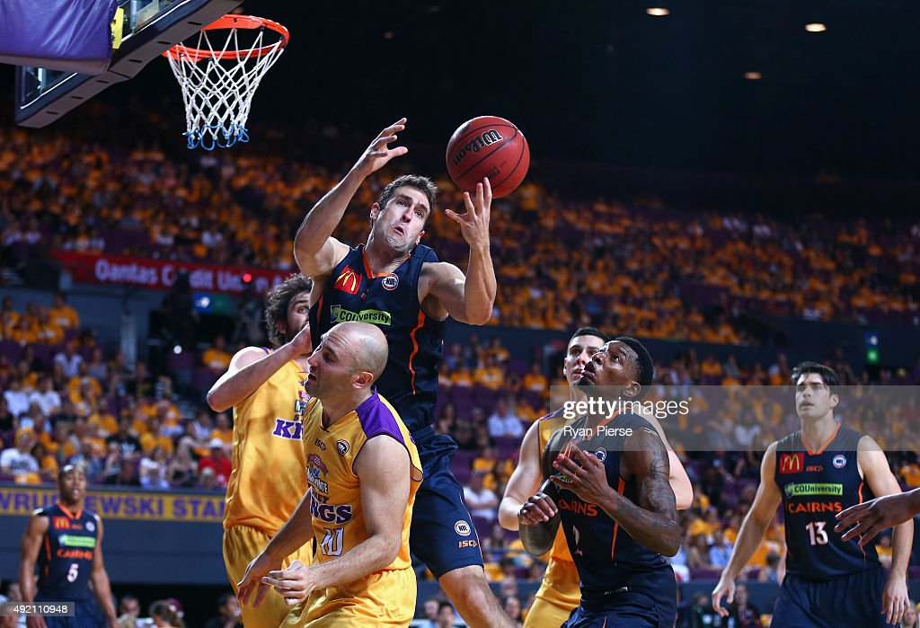 Matt Burston of the Taipans wins the ball over Steven Marcovic of the Kings during the round one NBL match between the Sydney Kings and the Cairns Taipans at Qantas Credit Union Arena on October 10, 2015 in Sydney, Australia.