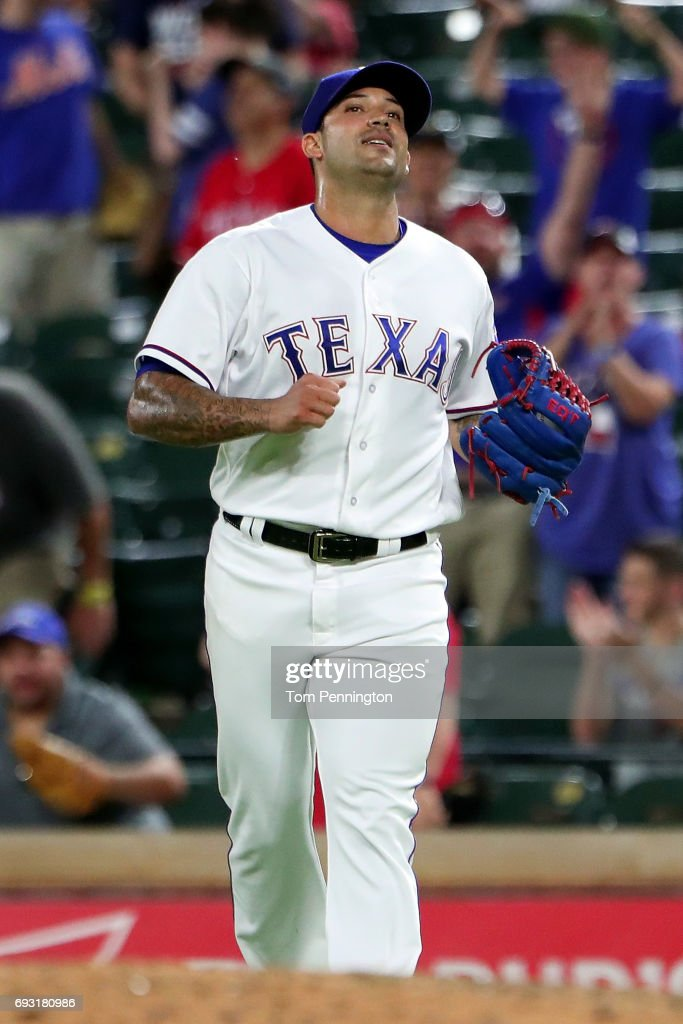 Matt Bush #51 of the Texas Rangers reacts after getting the final out against the New York Mets in the top of the ninth inning at Globe Life Park in Arlington on June 6, 2017 in Arlington, Texas.