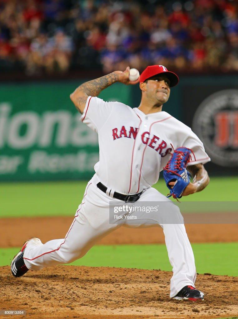 Matt Bush #51 of the Texas Rangers throws in the eighth inning against the Houston Astros at Globe Life Park in Arlington on August 12, 2017 in Arlington, Texas.
