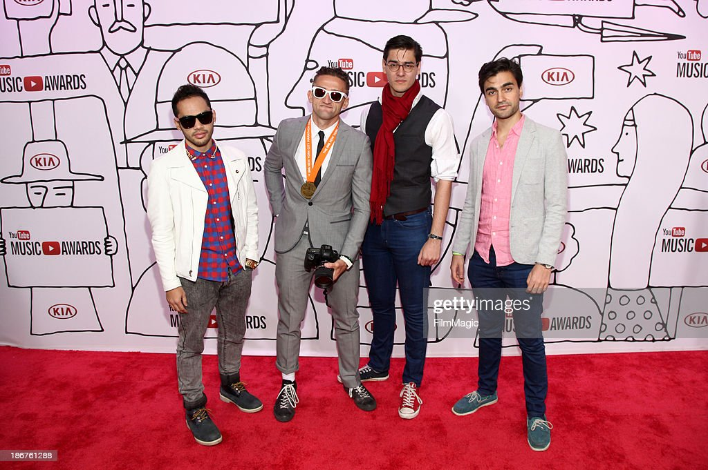Matt Cab, Casey Neistat, Antonius Nazareth and Vijay Nazareth attend the 2013 YouTube Music awards at Pier 36 on November 3, 2013 in New York City.