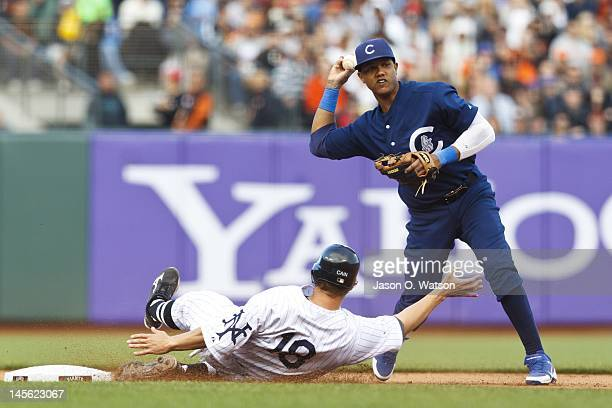 Matt Cain of the San Francisco Giants breaks up a double play attempt by Starlin Castro of the Chicago Cubs at second base during the seventh inning...