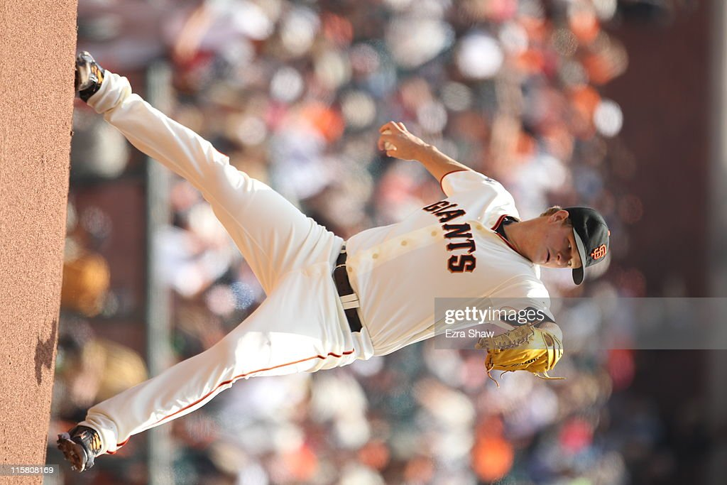 <a gi-track='captionPersonalityLinkClicked' href=/galleries/search?phrase=Matt+Cain&family=editorial&specificpeople=534602 ng-click='$event.stopPropagation()'>Matt Cain</a> #18 of the San Francisco Giants in action against the Washington Nationals at AT&T Park on June 8, 2011 in San Francisco, California.