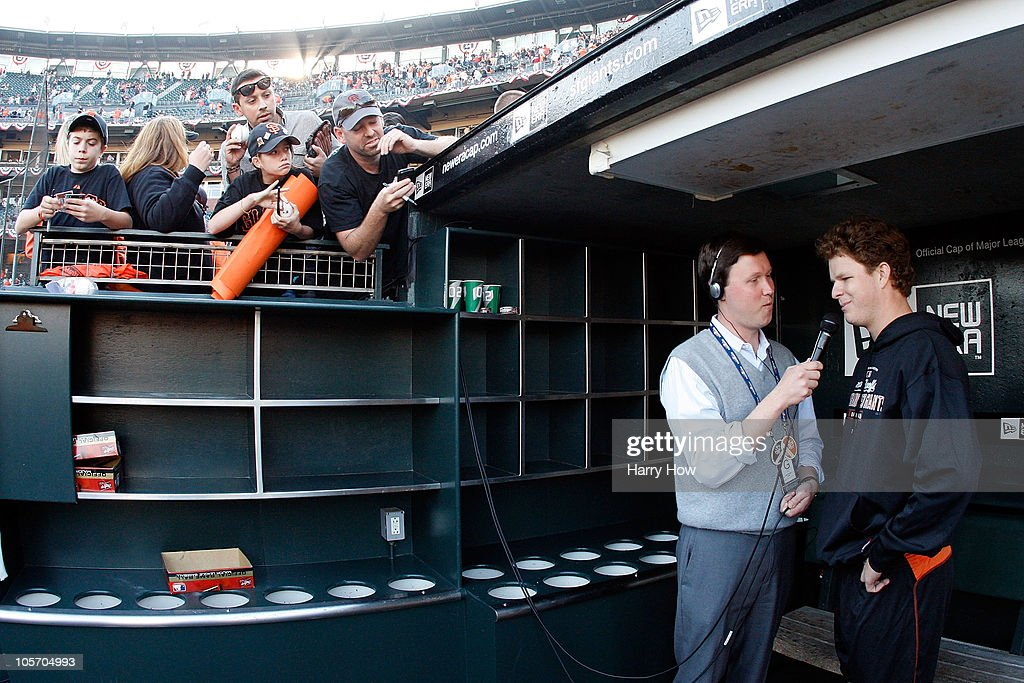 <a gi-track='captionPersonalityLinkClicked' href=/galleries/search?phrase=Matt+Cain&family=editorial&specificpeople=534602 ng-click='$event.stopPropagation()'>Matt Cain</a> #18 of the San Francisco Giants is interviewed after the Giants defeated the Philadelphia Phillies 3-0 in Game Three of the NLCS during the 2010 MLB Playoffs at AT&T Park on October 19, 2010 in San Francisco, California.
