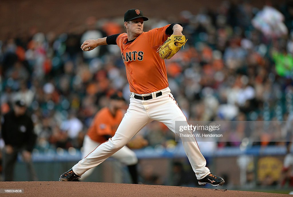 <a gi-track='captionPersonalityLinkClicked' href=/galleries/search?phrase=Matt+Cain&family=editorial&specificpeople=534602 ng-click='$event.stopPropagation()'>Matt Cain</a> #18 of the San Francisco Giants pitches against the Atlanta Braves at AT&T Park on May 10, 2013 in San Francisco, California.