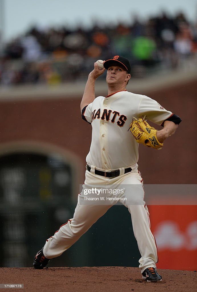 <a gi-track='captionPersonalityLinkClicked' href=/galleries/search?phrase=Matt+Cain&family=editorial&specificpeople=534602 ng-click='$event.stopPropagation()'>Matt Cain</a> #18 of the San Francisco Giants pitches against the Miami Marlins at AT&T Park on June 23, 2013 in San Francisco, California.