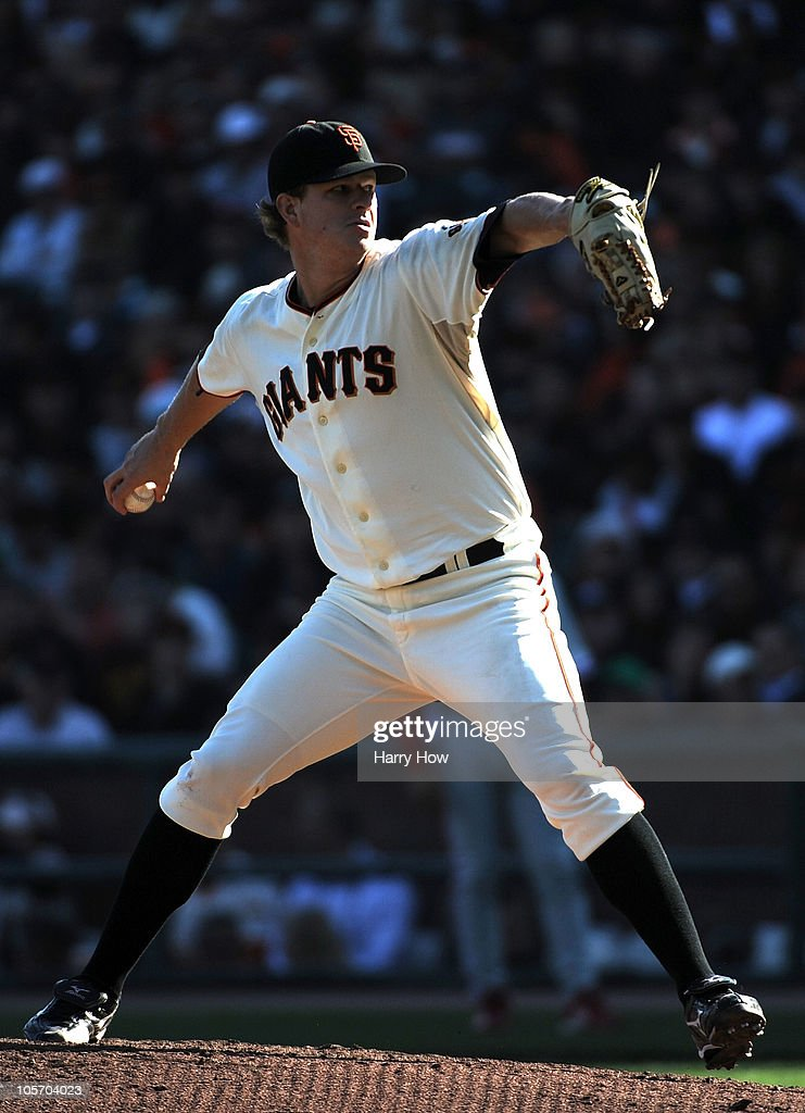 <a gi-track='captionPersonalityLinkClicked' href=/galleries/search?phrase=Matt+Cain&family=editorial&specificpeople=534602 ng-click='$event.stopPropagation()'>Matt Cain</a> #18 of the San Francisco Giants pitches against the Philadelphia Phillies in the seventh inning of Game Three of the NLCS during the 2010 MLB Playoffs at AT&T Park on October 19, 2010 in San Francisco, California.