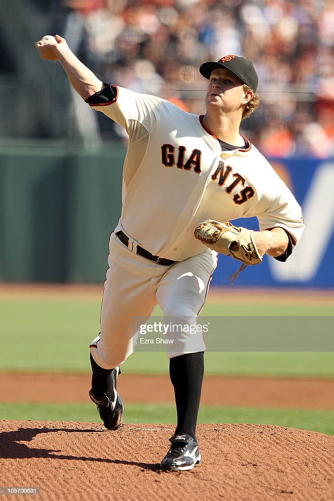 <a gi-track='captionPersonalityLinkClicked' href=/galleries/search?phrase=Matt+Cain&family=editorial&specificpeople=534602 ng-click='$event.stopPropagation()'>Matt Cain</a> #18 of the San Francisco Giants pitches in the first inning against the Philadelphia Phillies in Game Three of the NLCS during the 2010 MLB Playoffs at AT&T Park on October 19, 2010 in San Francisco, California.