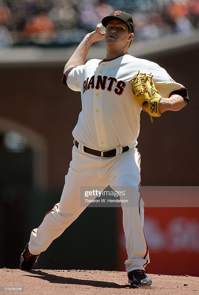 <a gi-track='captionPersonalityLinkClicked' href=/galleries/search?phrase=Matt+Cain&family=editorial&specificpeople=534602 ng-click='$event.stopPropagation()'>Matt Cain</a> #18 of the San Francisco Giants pitches in the first inning against the New York Mets at AT&T Park on July 10, 2013 in San Francisco, California.