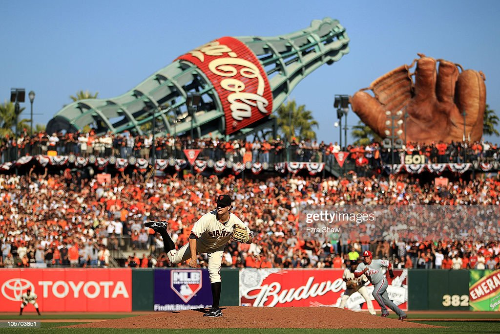<a gi-track='captionPersonalityLinkClicked' href=/galleries/search?phrase=Matt+Cain&family=editorial&specificpeople=534602 ng-click='$event.stopPropagation()'>Matt Cain</a> #18 of the San Francisco Giants pitches in the seventh inning against the Philadelphia Phillies in Game Three of the NLCS during the 2010 MLB Playoffs at AT&T Park on October 19, 2010 in San Francisco, California.