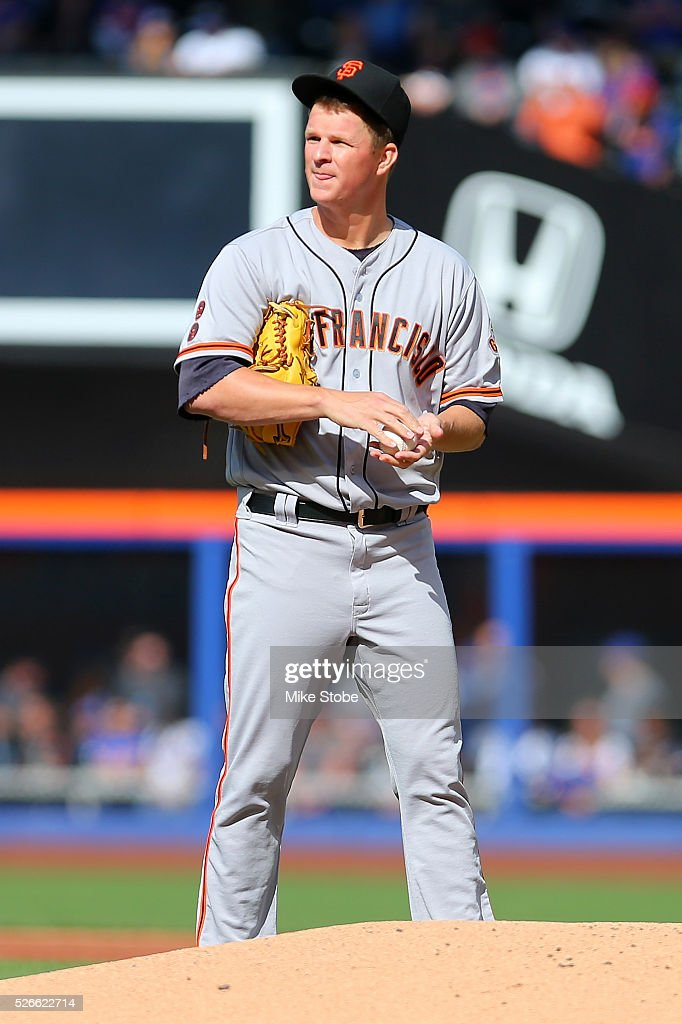 <a gi-track='captionPersonalityLinkClicked' href=/galleries/search?phrase=Matt+Cain&family=editorial&specificpeople=534602 ng-click='$event.stopPropagation()'>Matt Cain</a> #18 of the San Francisco Giants reacts in the first inning against the New York Mets at Citi Field on April 30, 2016 in the Flushing neighborhood of the Queens borough of New York City.