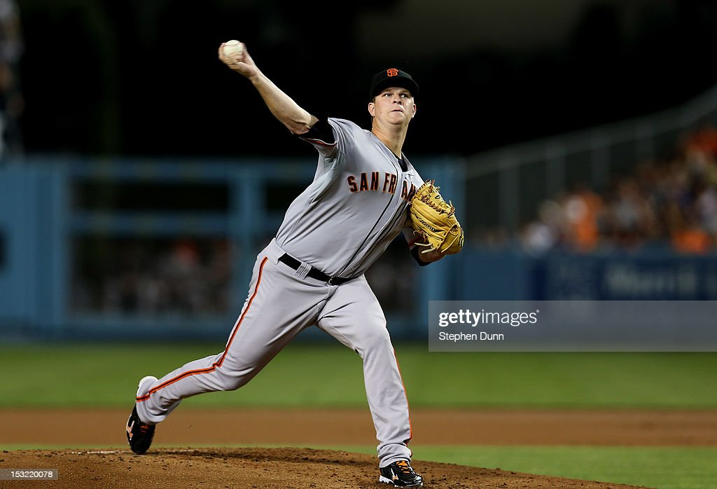 <a gi-track='captionPersonalityLinkClicked' href=/galleries/search?phrase=Matt+Cain&family=editorial&specificpeople=534602 ng-click='$event.stopPropagation()'>Matt Cain</a> #18 of the San Francisco Giants throws a pitch against the Los Angeles Dodgers on October 1, 2012 at Dodger Stadium in Los Angeles, California.
