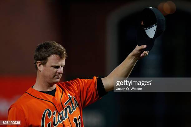 Matt Cain of the San Francisco Giants tips his hat on the field before the game against the San Diego Padres at ATT Park on September 29 2017 in San...