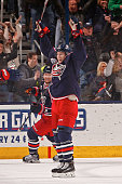 Matt Calvert of the Columbus Blue Jackets reacts after scoring a goal during the second period of a game against the Boston Bruins on December 27...