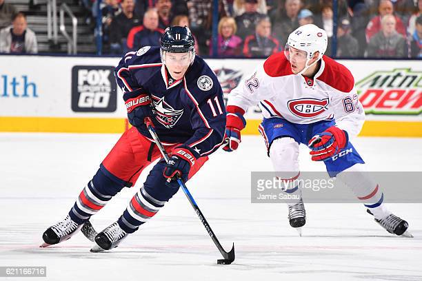 Matt Calvert of the Columbus Blue Jackets skates the puck up ice during the first period of a game against the Montreal Canadiens on November 4 2016...