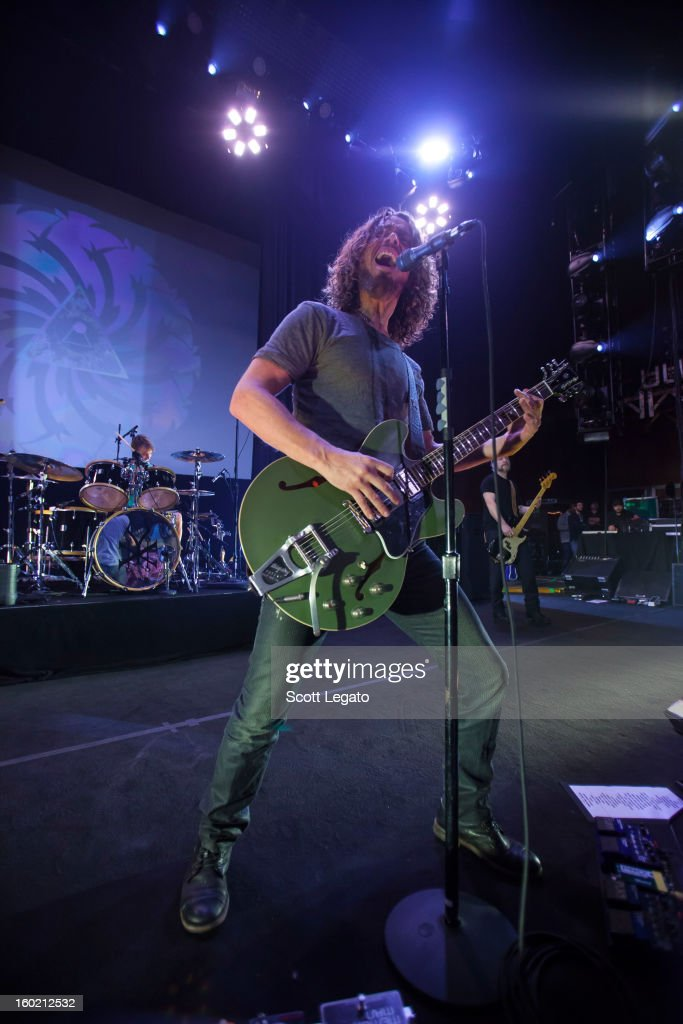 Matt Cameron (L) and Chris Cornell of Soundgarden perform in concert at The Fillmore on January 27, 2013 in Detroit, Michigan.