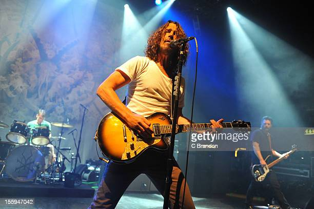 Matt Cameron Chris Cornell and Ben Shepherd of Soundgarden perform on stage at Shepherds Bush Empire on November 9 2012 in London United Kingdom