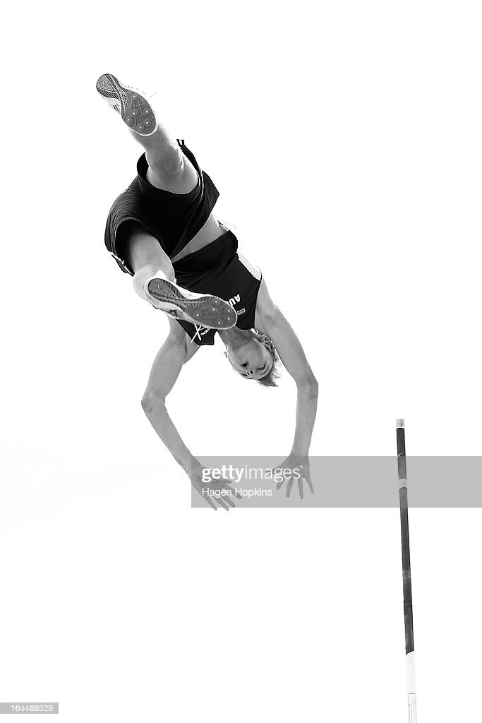 Matt Campbell of Auckland warms up for the men's under 20 pole vault during the New Zealand Track and Field Championships at Mt Smart Stadium on March 24, 2013 in Auckland, New Zealand.