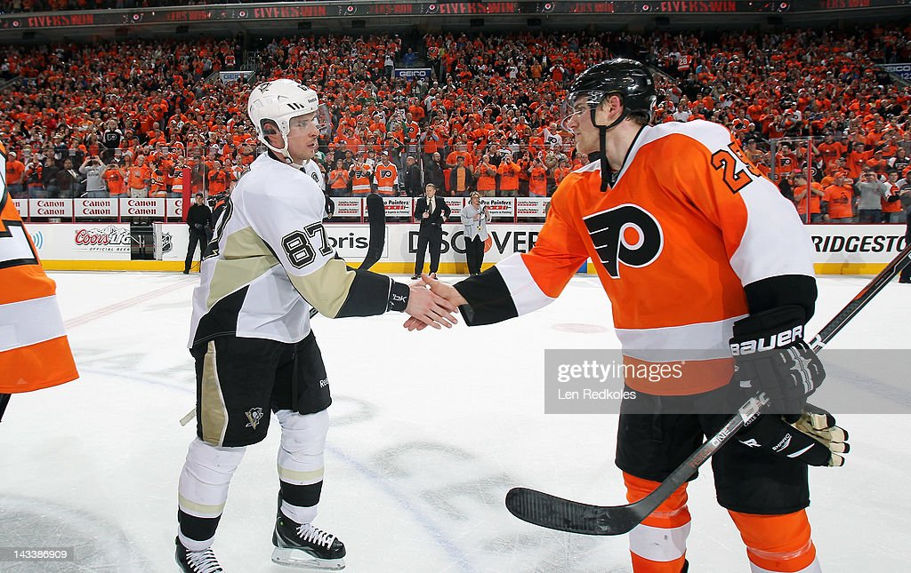 Matt Carle #25 of the Philadelphia Flyers shakes hands with Sidney Crosby #87 of the Pittsburgh Penguins after Game Six of the Eastern Conference Quarterfinals during the 2012 NHL Stanley Cup Playoffs on April 22, 2012 at the Wells Fargo Center in Philadelphia, Pennsylvania. The Flyers defeated the Penguins 5-1 to win this series in six games.