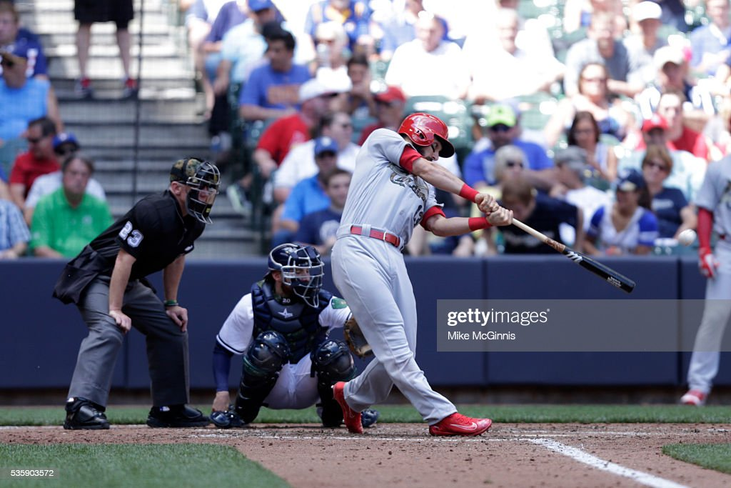 <a gi-track='captionPersonalityLinkClicked' href=/galleries/search?phrase=Matt+Carpenter+-+Baseball+Player&family=editorial&specificpeople=9872119 ng-click='$event.stopPropagation()'>Matt Carpenter</a> #13 of the St. Louis Cardinals hits a double in the fifth inning against the Milwaukee Brewers at Miller Park on May 30, 2016 in Milwaukee, Wisconsin.