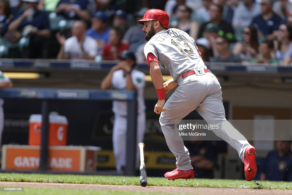 <a gi-track='captionPersonalityLinkClicked' href=/galleries/search?phrase=Matt+Carpenter+-+Baseball+Player&family=editorial&specificpeople=9872119 ng-click='$event.stopPropagation()'>Matt Carpenter</a> #13 of the St. Louis Cardinals hits a single during the first inning against the Milwaukee Brewers at Miller Park on May 30, 2016 in Milwaukee, Wisconsin.