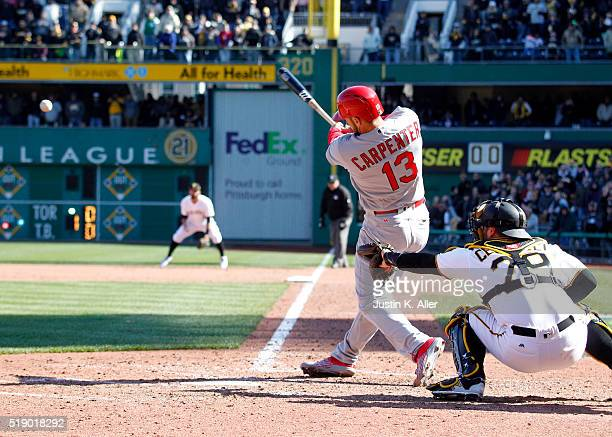 Matt Carpenter of the St Louis Cardinals in action during opening day against the Pittsburgh Pirates at PNC Park on April 3 2016 in Pittsburgh...