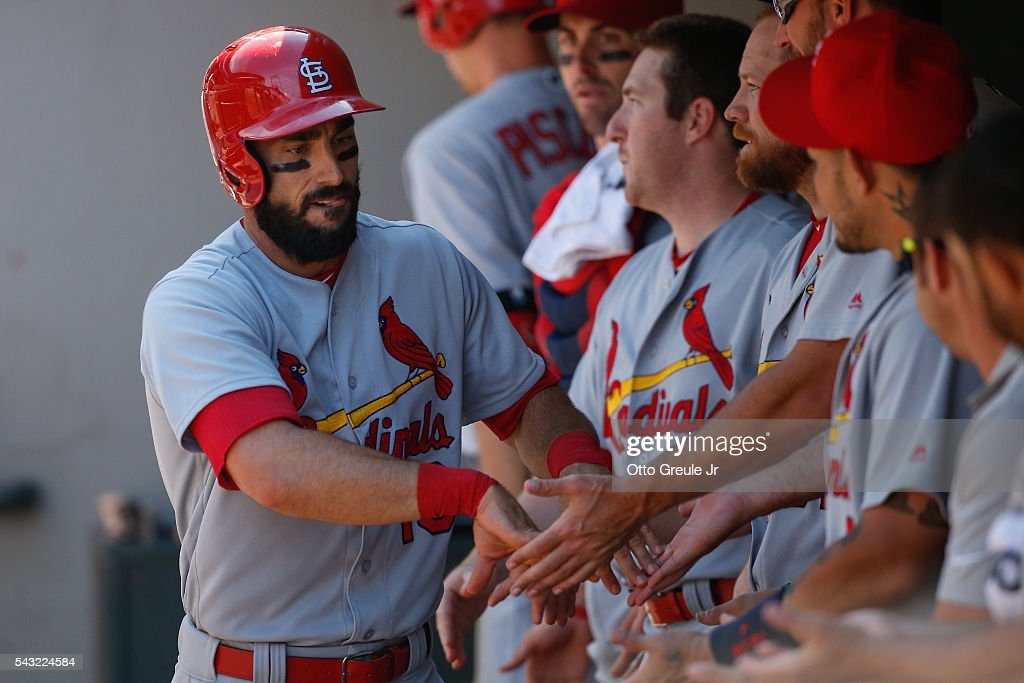 <a gi-track='captionPersonalityLinkClicked' href=/galleries/search?phrase=Matt+Carpenter+-+Baseball+Player&family=editorial&specificpeople=9872119 ng-click='$event.stopPropagation()'>Matt Carpenter</a> #13 of the St. Louis Cardinals is congratulated by teammates after hitting a solo home run in the sixth inning against the Seattle Mariners at Safeco Field on June 26, 2016 in Seattle, Washington.