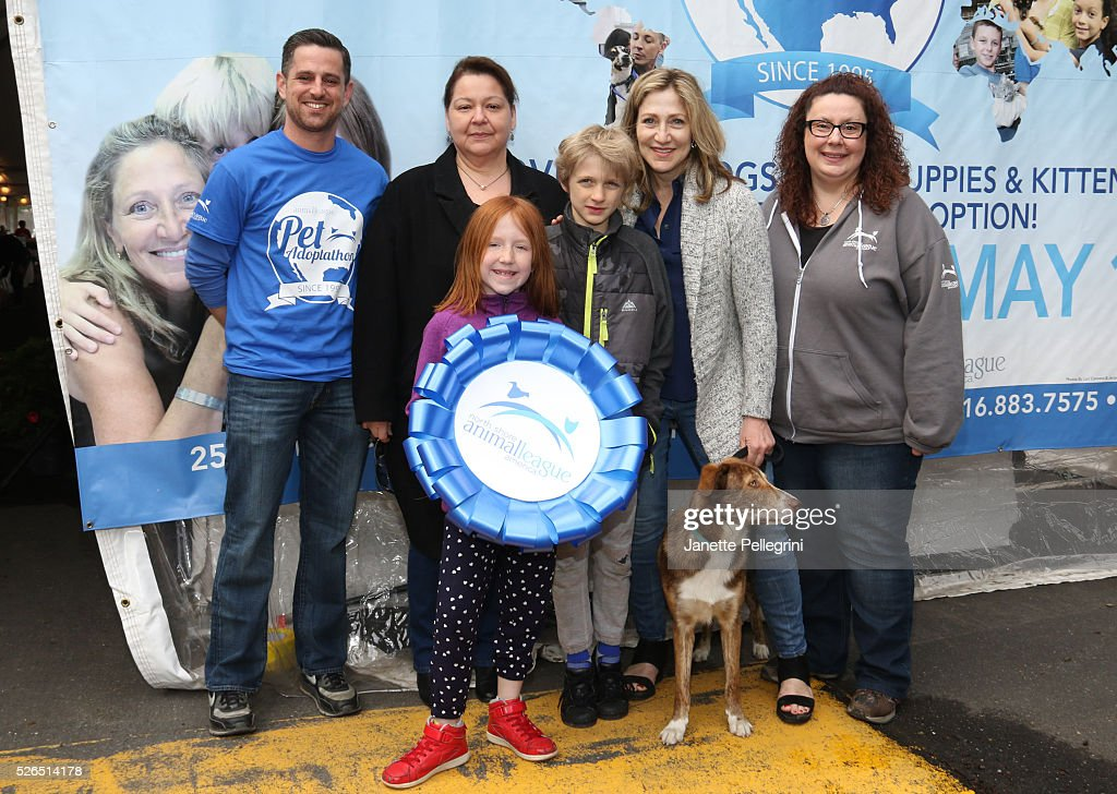 Matt Carroll, Joanne Yohannan, Edie Falco with her children Maisy Falco, Anderson Falco and their rescue dog Niko and Sylvia Ottaka attend the 22nd Annual Global Pet Adoption Event at North Shore Animal League America on April 30, 2016 in Port Washington, New York.