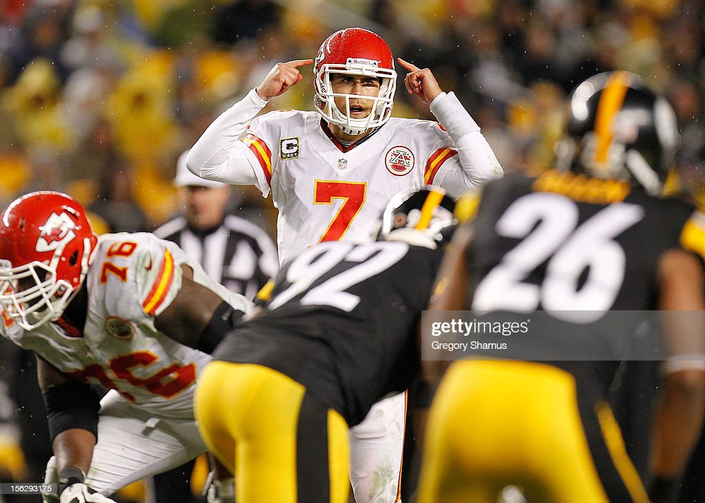 <a gi-track='captionPersonalityLinkClicked' href=/galleries/search?phrase=Matt+Cassel&family=editorial&specificpeople=567575 ng-click='$event.stopPropagation()'>Matt Cassel</a> #7 of the Kansas City Chiefs signals his teammates during a third quarter play while playing the Pittsburgh Steelers at Heinz Field on November 12, 2012 in Pittsburgh, Pennsylvania.