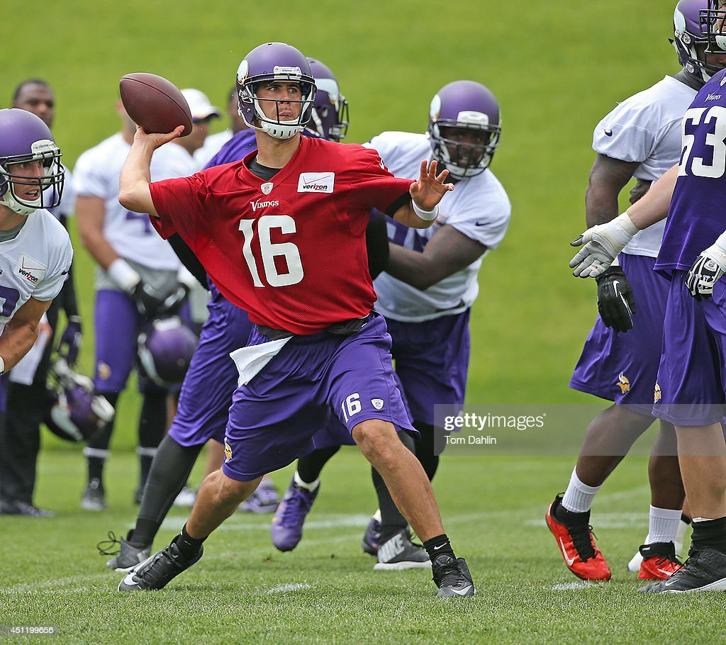 Matt Cassel #16 of the Minnesota Vikings passes the ball at the Winter Park training facility on June 18, 2014 in Eden Prairie, Minnesota.