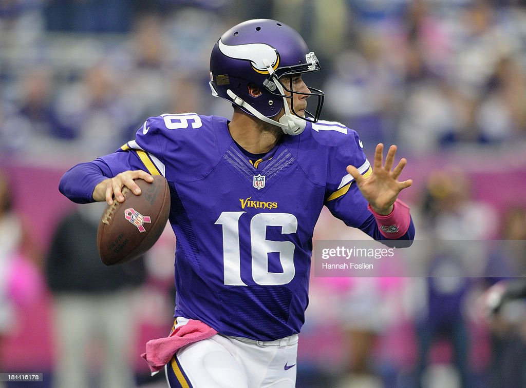 <a gi-track='captionPersonalityLinkClicked' href=/galleries/search?phrase=Matt+Cassel&family=editorial&specificpeople=567575 ng-click='$event.stopPropagation()'>Matt Cassel</a> #16 of the Minnesota Vikings passes the ball during the first quarter of the game against the Carolina Panthers on October 13, 2013 at Mall of America Field at the Hubert H. Humphrey Metrodome in Minneapolis, Minnesota. The Panthers defeated the Vikings 35-10.