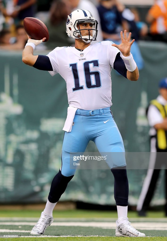 Matt Cassel #16 of the Tennessee Titans warms up before the game against the New York Jets during a preseason game at MetLife Stadium on August 12, 2017 in East Rutherford, New Jersey.