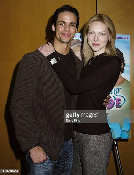 Matt Cedeno and Laura Prepon during Oxygen Premiere of Their Original Feature 'Romancing the Bride' Arrivals and Inside at Global Cuisine at the LOT...