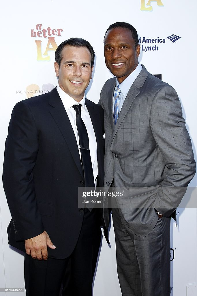 Matt Celenza (L) and Willie James Gault attend a Better LA celebrates 10 Years With 'An Evening With A View' Gala at AT&T Center on May 2, 2013 in Los Angeles, California.
