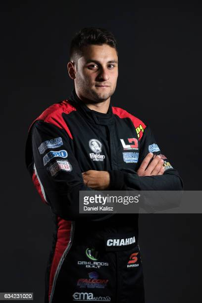 Matt Chahda driver of the LD Motorsports Holden Commodore VF poses during a portrait session during the 2017 Supercars media day on February 8 2017...