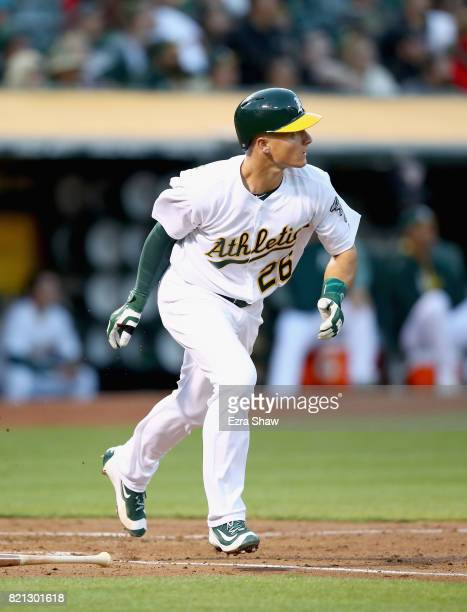 Matt Chapman of the Oakland Athletics bats against the Tampa Bay Rays at Oakland Alameda Coliseum on July 18 2017 in Oakland California