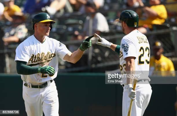 Matt Chapman of the Oakland Athletics is congratulated by Matt Joyce after he hit a tworun home run in the eighth inning against the Kansas City...