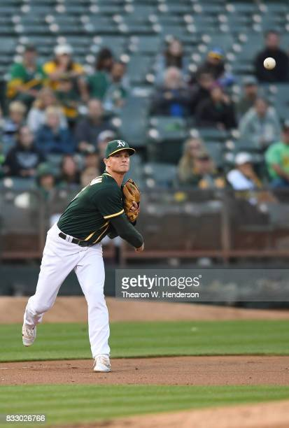 Matt Chapman of the Oakland Athletics throws to first base throwing out Trey Mancini of the Baltimore Orioles in the top of the second inning at...