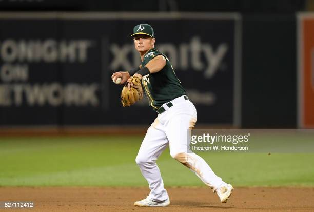 Matt Chapman of the Oakland Athletics throws to first base to throw out JaeGyun Hwang of the San Francisco Giants in the top of the fifth inning at...