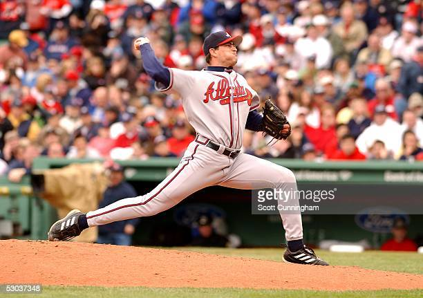 Matt Childers of the Atlanta Braves pitches against the Boston Red Sox at Fenway Park on May 22 2005 in Boston Massachusetts The Red Sox won the game...