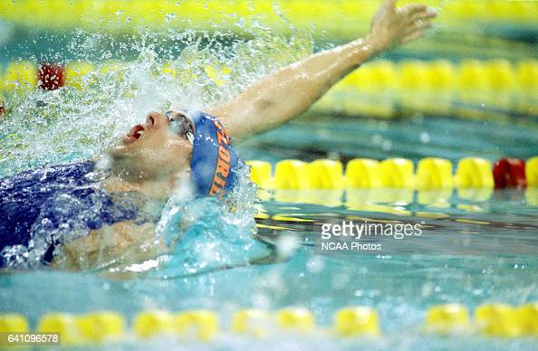 Matt Cole of the Unversity of Florida competes in the 200 Meter Backstroke during the 2000 NCAA Division 1 Men's Swimming and Diving Championships on...