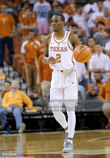 Matt Coleman of the Texas Longhorns brings the ball up court against the Lipscomb Bisons at the Frank Erwin Center on November 18 2017 in Austin Texas