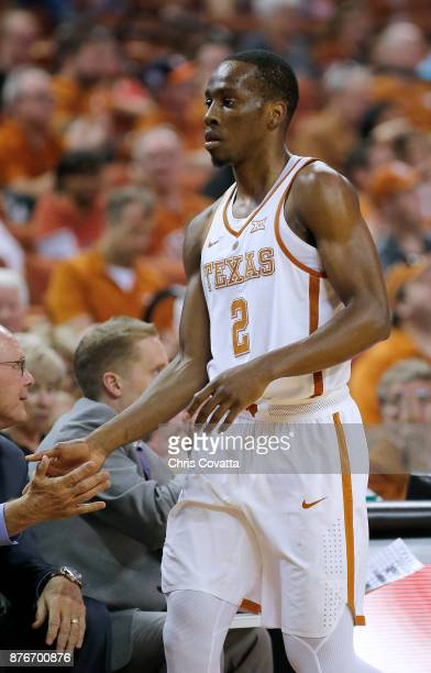 Matt Coleman of the Texas Longhorns leaves the court during the game with the Lipscomb Bisons at the Frank Erwin Center on November 18 2017 in Austin...