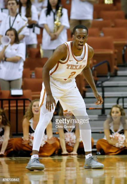 Matt Coleman of the Texas Longhorns plays defense against the Lipscomb Bisons at the Frank Erwin Center on November 18 2017 in Austin Texas