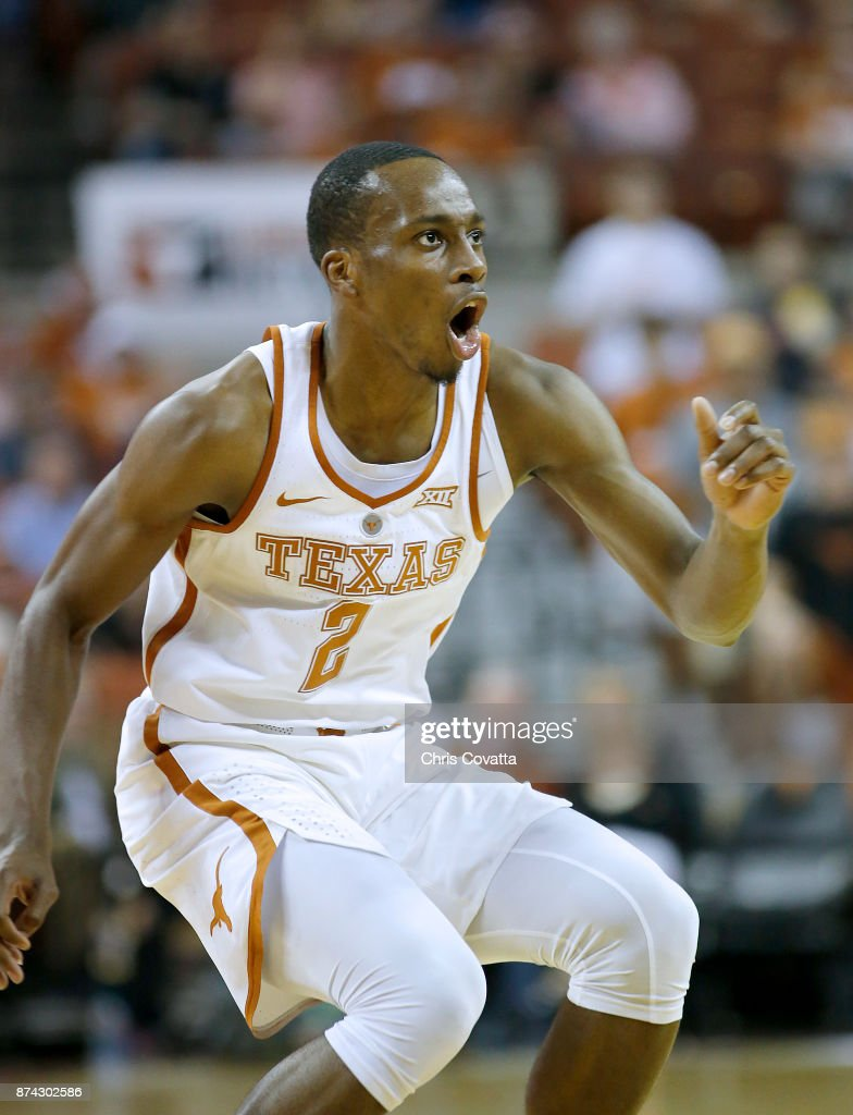 Matt Coleman #2 of the Texas Longhorns plays defense against the New Hampshire Wildcats at the Frank Erwin Center on November 14, 2017 in Austin, Texas.
