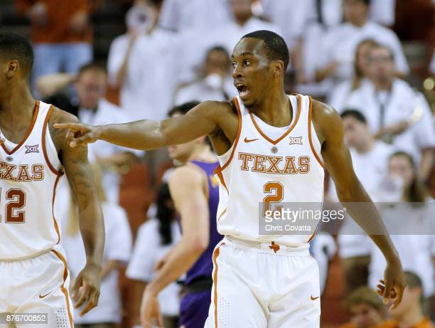 Matt Coleman of the Texas Longhorns reacts as his team plays the Lipscomb Bisons at the Frank Erwin Center on November 18 2017 in Austin Texas