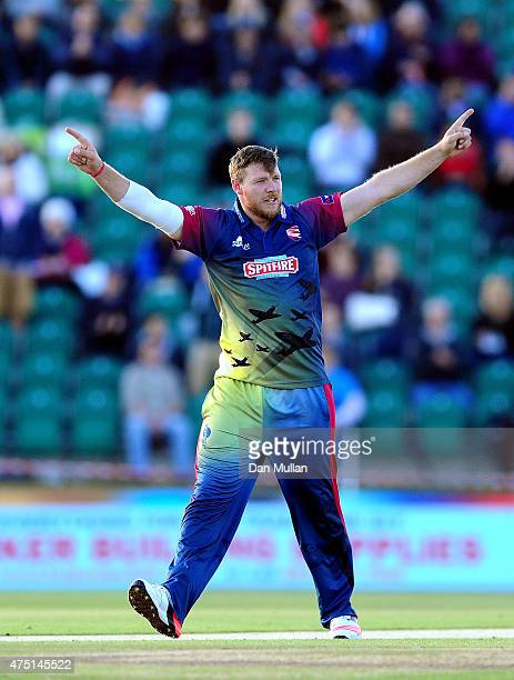 Matt Coles celebrates taking the wicket of Jason Roy of Kent Spitfires during the NatWest T20 Blast match between Kent and Surrey at The County...